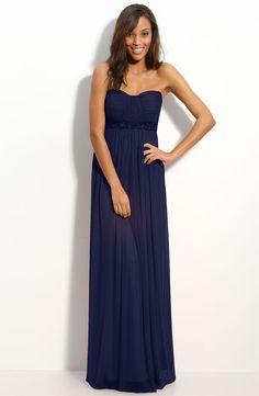 Navy Blue Column Strapless Sweetheart Full Length Zipper Pleated Chiffon Bridesmaid Dress - Vuhera.com
