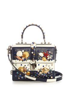 Dolce Box shell-embellished striped leather bag | Dolce & Gabbana | MATCHESFASHION.COM