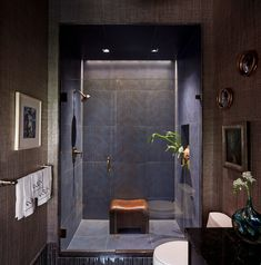 "Interior designer Charles Pavarini III featured Max's Metallic Raffia 3545 Bronze in the bathroom of his ""Midnight Manhattan"" installation for the 2015 Kips Bay Showhouse. Contemporary Interior Design, Modern Contemporary, Kips Bay Showhouse, Spa Shower, Bathroom Inspiration, Bathroom Ideas, Portfolio Design, Bathrooms, Manhattan"