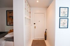 Jay's Chelsea Renovation - made an entryway with a headboard and room divider - 400 sq ft