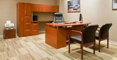 Executive Desk Credenza set in Cherry wood finish.