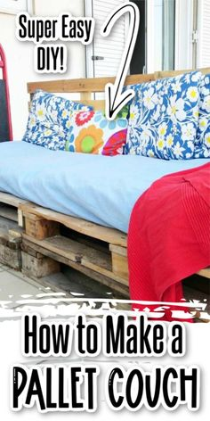 Learn how to make a pallet couch with this simple step-by-step tutorial. No tool needed for this budget-friendly patio furniture idea. #theboondocksblog Simple Furniture, Diy Furniture Plans, Inexpensive Furniture, Woodworking Furniture, Pallet Furniture, Furniture Making, Furniture Makeover, Outdoor Furniture, Diy Pallet Couch
