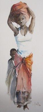 Xhosa lady impression 1 by Wallace Hulley. Black Women Art, Black Art, Xhosa, South African Artists, African American Art, Ivory Coast, Sierra Leone, Best Mom, Female Art