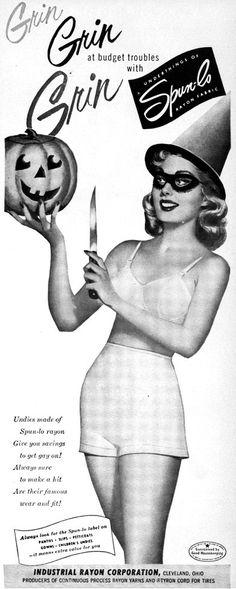 Advertising for lingerie Spunlo ad/ Vintage Lingerie Ad/ Vintage Halloween/ Pumpkin/ Fas 1950s Halloween, Vintage Halloween Photos, Halloween Labels, Halloween Ii, Vintage Halloween Decorations, Halloween Pictures, Halloween Themes, Halloween Designs, Vintage Advertisements