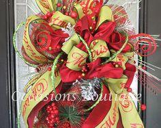 Christmas Door Swag Christmas Decor Christmas by marigoldsdesigns