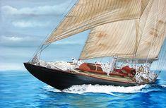 Η Χρύσα Δελλαπόρτα εκθέτει στο Ποσειδώνιο, στο πλαίσιο του Διεθνούς Αγώνα Κλασσικών Σκαφών Σπετσών Boat, Vehicles, Paintings, Dinghy, Paint, Painting Art, Boats, Car, Painting