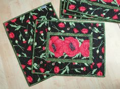 Quilted Placemats Red Poppy Flora 569 by QuiltinWaYnE on Etsy