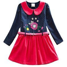 ee476a98503 VIKITA Robes Fille Manches Longues Coton Cartoon Floral Princesse Casual  Enfant 2-8 Ans