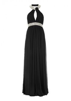 Forever Unique | 'Mara' Black Mesh Maxi Dress | This Black mesh maxi dress comes with beaded neckline and waistband. It is fully lined and has bust cups. It has a zip opening and hook and eye fastening.