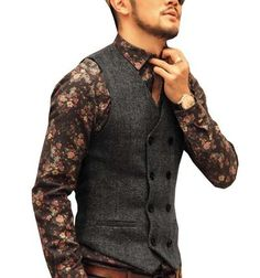 2019 New Style Yunclos 2019 Men Woolen Suit Vest Single Breasted Patchwork Collar Wedding Slim Fit Vest Waistcoat Business Formal Vest For Men Firm In Structure Men's Clothing