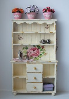 DIY miniature shabby chic buffet