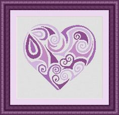 TRIBAL HEART purple / coeur- Counted cross stitch pattern /grille point de croix…