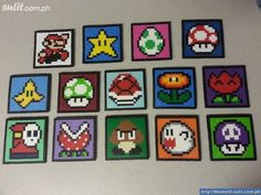 Nintendo Perler Mario (and others) Coasters or Magnets - Choose 4 Coasters