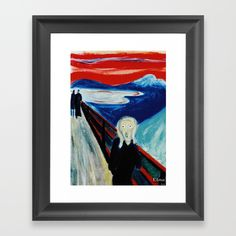 """Reproduction of an oil on canvas painting representing """"The Scream """" by E. Munch, on a Etna landscape. Framed fine art print on natural white, matte, ultra smooth, 100% cotton rag, acid and lignin free archival paper using an advanced digital dry ink method to ensure vibrant image quality."""