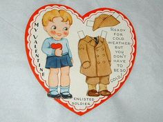 Vintage Valentine Card Paper Doll Enlisted Soldier