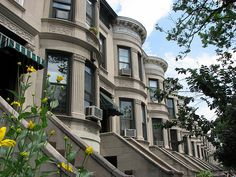 Christina lives in Park Slope, Brooklyn; these limestone row houses are common in the  neighborhood.