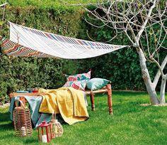 diy garden sewing project triangle shade drop cloth tutorial