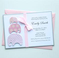Invitaciones para #BabyShowers con el tema elefantes.