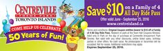 Ontario Coupon for Resorts, Events, Things to Do Ontario Attractions, Stuff To Do, Things To Do, Toronto Island, Family Of 4, Enjoy Your Vacation, Amusement Park, Us Travel, Summer Fun