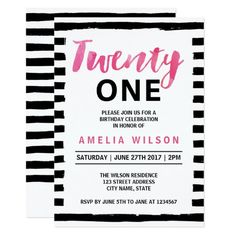 Chic Black and White 21st Birthday Invitation by Rosewood and Citrus on Zazzle