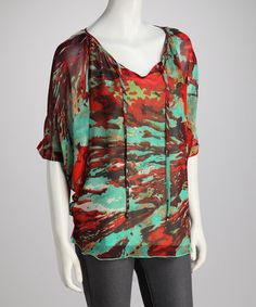 Take a look at this Turquoise & Red Chiffon Tunic by Madison Paige on #zulily today!