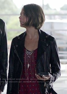 Thea's red printed top and leather jacket on Arrow.  Outfit Details: http://wornontv.net/52477/ #Arrow