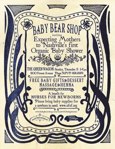 artist is unknown however this invitation is a beautiful idea and goes nicely with the typography. Not only am I fond of that but the border really attracts the viewers eye without taking away from the text too much.  #babybearshop