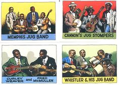 Robert Crumb Trading Cards, Memphis Jug Band, Cannon's Jug Stompers, Curly Weaver & Fred McCullen, Whistler & His Jug Band