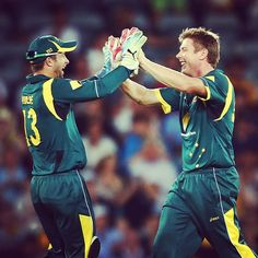 Matthew Wade & James Faulkner celebrate the wicket of Darren Sammy. Jimmy ended with figures of 4-48