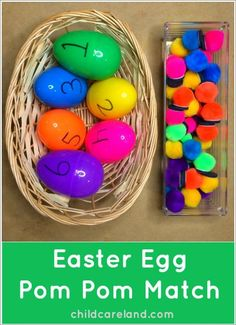 Easter Egg Pom Pom Match - Preschool Learning Activity Letter E, Colors, Numbers Easter Activities For Kids, Preschool Learning Activities, Spring Activities, Easter Crafts For Kids, Toddler Activities, Preschool Activities, Easter Ideas, Easter Crafts For Preschoolers, Bunny Crafts