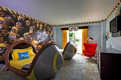Minions Set to Take Over New Kids Suites at Loews Portofino Bay Hotel Minion Bedroom, Kids Bedroom, Kids Rooms, Bedroom Ideas, Themed Hotel Rooms, Minion Theme, Hotels For Kids, Best Interior Design, Room Themes