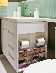 Secrets to Good Bathroom Storage. Bathroom Storage, Bathroom Interior, Small Bathroom, Ideas Baños, Bathroom Inspiration, Home Projects, Sweet Home, New Homes, House Design