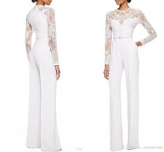 2015 New Arrival White Elie Saab Long Sleeves Lace Embellished Jumpsuit Jasmine White Pants Mother's Dresses Evening Dresses Custom Made