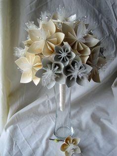 Paper flower origami bridal bouquet