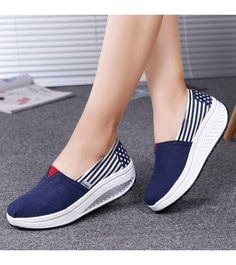 Women's #navy slip on #rocker bottom sole shoe sneakers stripe star pattern, lightweight, casual, leisure occasions.