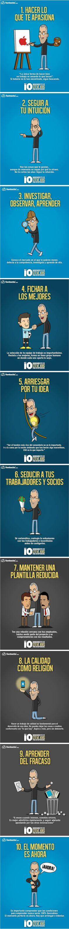 Infografía en español que muestra los 10 mandamientos de Steve Jobs para #emprendedores