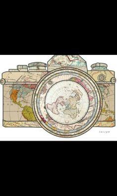 Travel dibujos 'Travel' Sticker by taszyn Travel Sticker, Illustrator, Tatting, Patterns, Camera Art, Camera Drawing, Travel Europe, Time Travel, Travel Maps