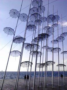 thessaloniki Greek Beauty, Thessaloniki, Eurotrip, Greece Travel, Wallpaper Backgrounds, Places To Travel, Romantic, Sky, Umbrellas