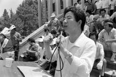 1988, 고려대에서 열린 노점상토론회에서 연설하는 노무현