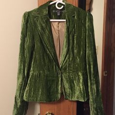 Sz 8 crushed green velvet blazer. Anthropologie  brand True Meaning Sz 8 gorgeous crushed green velvet, fully lined  blazer. Lining is in tact & is tan and a fabulous iridescent periwinkle color. No flaws. Beautiful grey gemstone snap at waist. Covered buttons at wrists. Unique collar detail with button hole. Tapered & gathered at waist. Very feminine. I coveted this & it sadly just doesn't work with my thick arms. . No flaws. Excellent condition. Anthropologie Jackets & Coats Blazers