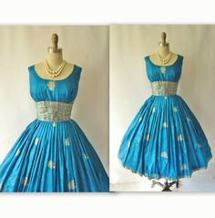 1950's Silk Sari turquoise & gold dress.