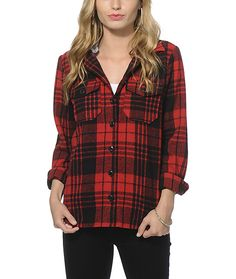 A warm and cozy flannel jacket in a bold plaid print features a removable hood with button attachments so you can mix up your look.