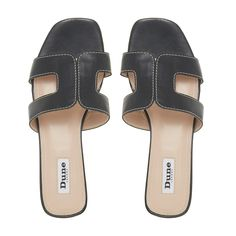 Stay smart and stylish this summer with Dune London's Loupe slider sandal. Featuring a cut out design with contrast stitching and a low block heel. An open sandal toe and resin sole complete the striking shoe.