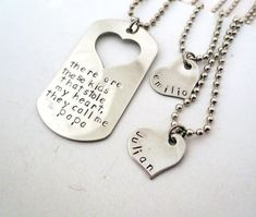 Daddy and Daughter or Children -Personalized Hand Stamped Matching Necklaces - His and Hers - Family Set-They Call Me Daddy