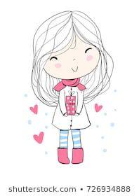 Immagine vettoriale stock 726934888 a tema Girl Gifts Christmas Card (royalty free) Cute Cartoon Wallpapers, Cartoon Pics, Girl Cartoon, Illustration Mignonne, Cute Illustration, Doodle Girl, Kids Graphics, Simple Character, Kawaii Doodles