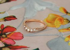 Rose gold pearl and diamond wedding band Diamond Wedding Bands, Wedding Rings, Rose Gold Pearl, Engagement Rings, Jewellery, Pearls, Rings For Engagement, Jewelery, Commitment Rings