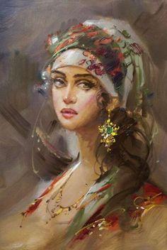 """Vintage Woman"" painted by Remzi Taşkıran, (Turkish painter). Fantasy Kunst, Fantasy Art, Woman Painting, Painting & Drawing, L'art Du Portrait, Portraits, Turkish Art, Beautiful Paintings, Female Art"