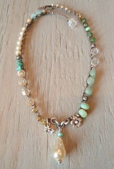 Pearl Boho crochet necklace ' Bohemian Belle' dimpled pearl rustic Thai silver flowers turquoise, semi precious stone spring