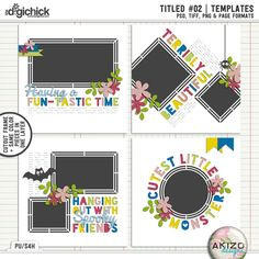 A unique digital scrapbooking Template Set by Akizo Designs.