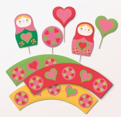 Russian Doll #cupcake wrappers and toppers PDF (print it yourself) $4